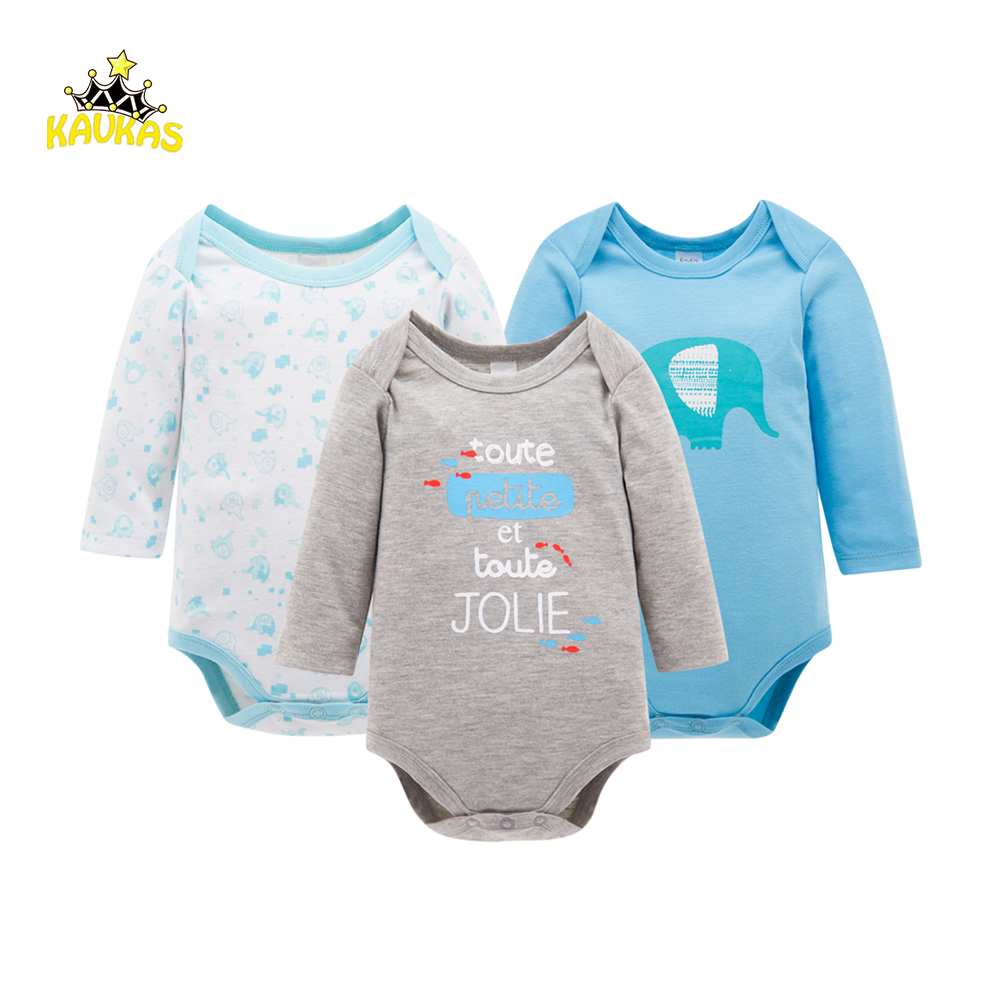 KAVLAS 3Pcs/Lot Baby Body Suits Rompers Spring Baby Newborn Cartoon Patterns Cotton Body Long Sleeve Infant Bebes Boys Clothes