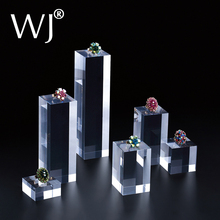 Clear Acrylic Square Sheet Stamping Block Cosmetics Display Stand Pad Photography Props Ornaments Rings Necklace Jewelry Holder