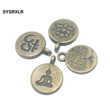 Wholesale 15 MM 20/40 PCS Lotus Life Tree OM Buddha Bronze Metal Zinc Alloy DIY Bracelet Necklace Earring For Jewelry Making