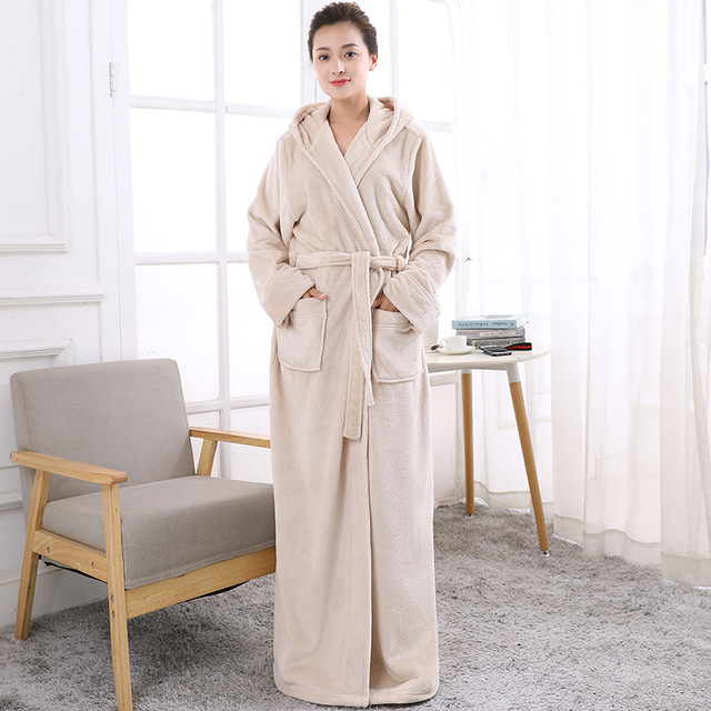 cf9a33b76e Beige White Luxury Ladies Warm Soft Full Length Hooded Bathrobes Dressing  Gowns Housecoat for women thick soft Long bathrobe