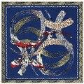 Newest brand Twill silk scarf square Geometric arc Leopard scarves shawls foulard women 100x100cm bufanda