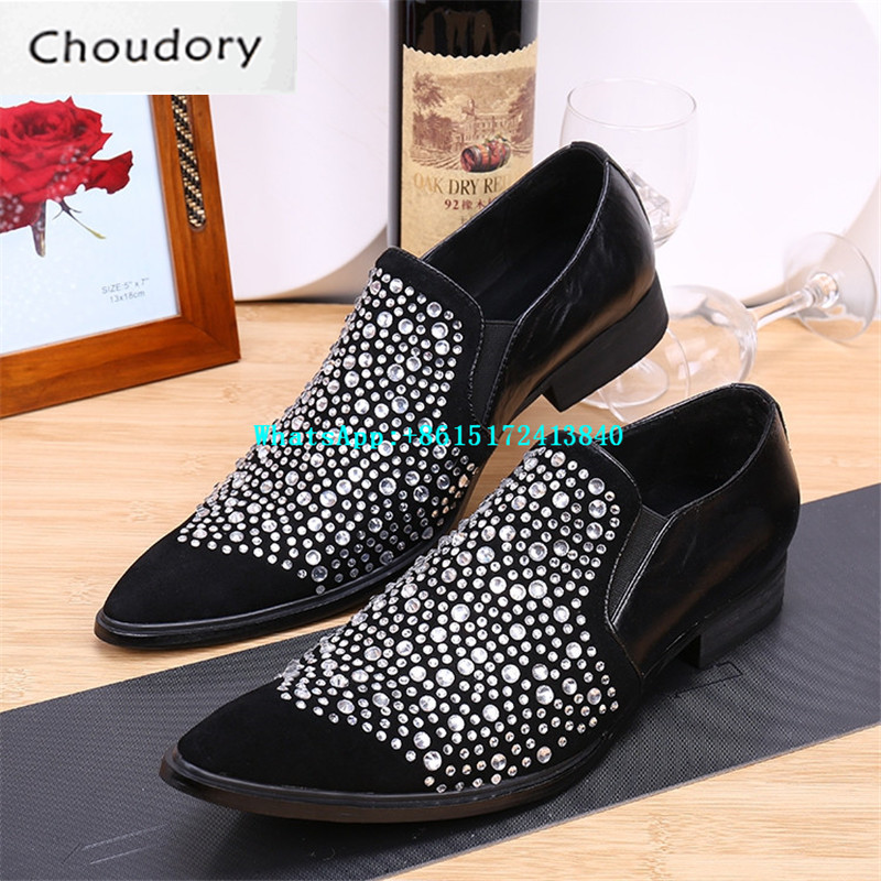 Choudory Breathable Height Increasing Solid Mens Shoes Casual Pointed Toe New Fashion Crystal Wedding Mens Dress Suede Shoes