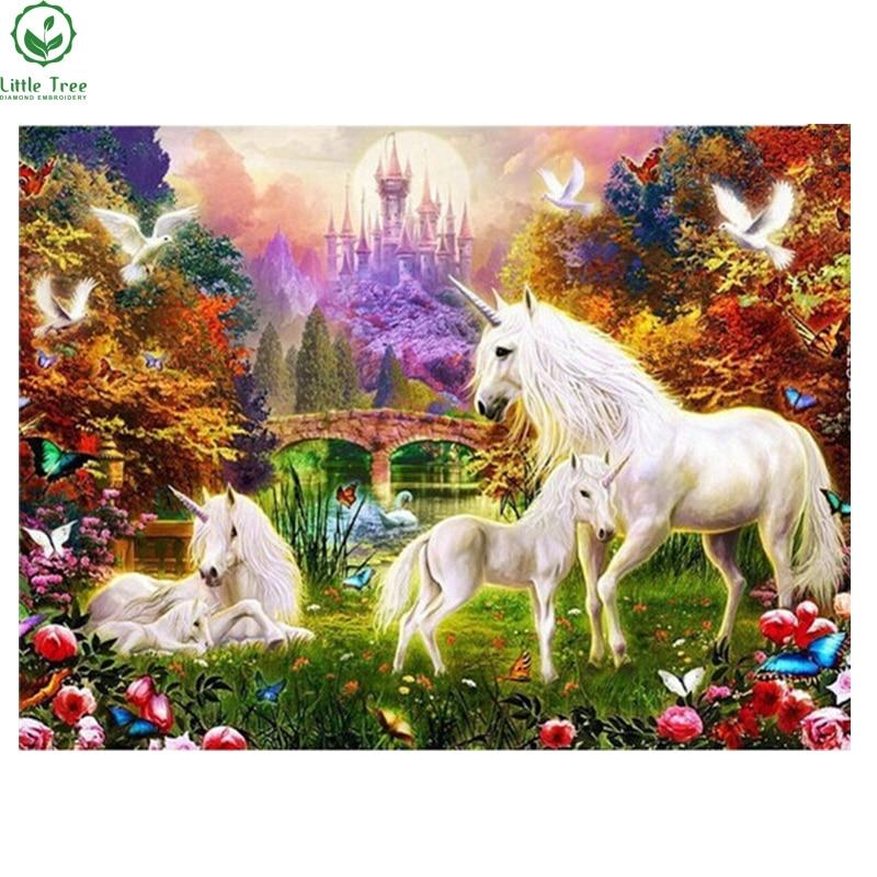 2017 free Shiping 3d Diy Diamond Painting Rhinestones Set Embroidery Resin Craft Horse Unicorn Families Myth Magic Auspicious