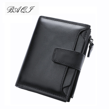 BAQI Brand Men Wallets Genuine Leather Cow Leather High Quality Coin Purse 2019 Fashion Card Holder Man Zipper Wallets Short