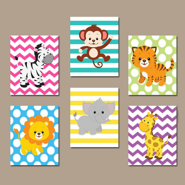 Cute Animals Cartoon Canvas Art Paintings Printable Wall Pictures Poster Oil Painting Kids Nursery Room