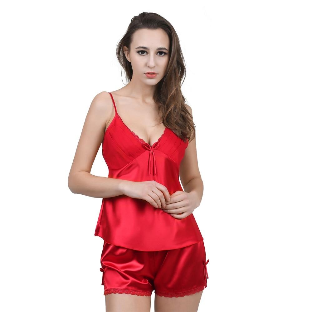 Solide Satin Chiffon Damen Pyjama Sets Frühling Sommer Nachthemd Chemises Pyjamas für Frau Lace Neck Nachtwäsche mit sexy Hosen