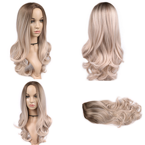 Image 5 - FAVE Ombre Light Brown Ash Blonde Wig Long Wavy Heat Resistant Fiber Synthetic Hair 20 Inch Wig for Black Women Cosplay Party