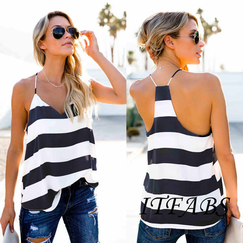2019 kobiety moda Loose Top Crop Casual Striped V-neck bez rękawów Halter Tank tops Casual plaża Slim Hot New Arrival