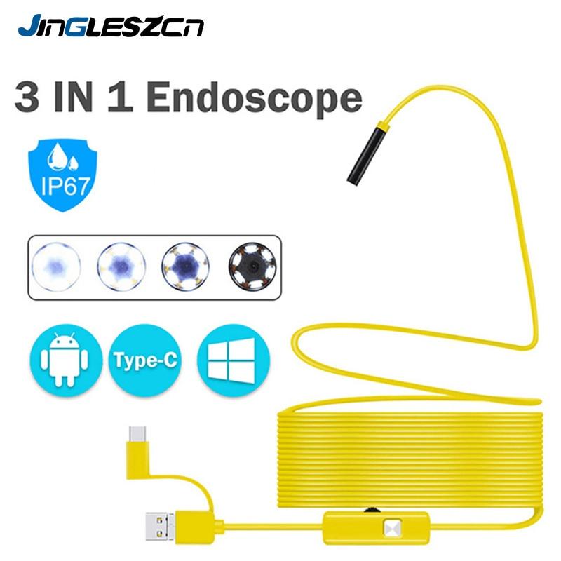 Câmera endoscópica usb semi-rígida 7mm, à prova dágua ip67, cobra, com 6 led ajustável, para tablet endoscópio para pc android
