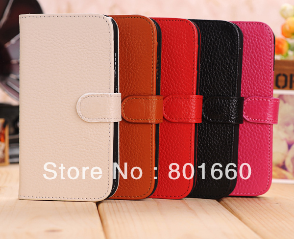 10pcs/lot! High-grade Genuine Leather Wiht Credit Card Slot Flip Stand Cover Case For Samsung Galaxy S IV S4 I9500