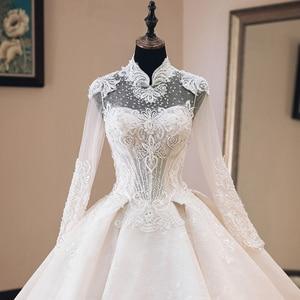Image 5 - Vestido de Casamento Che Borda Appliques di Lusso Abito di Sfera Abiti Da Sposa Manica Lunga 2020 di Alta Collo Trouwjurk Vestito Da Sposa