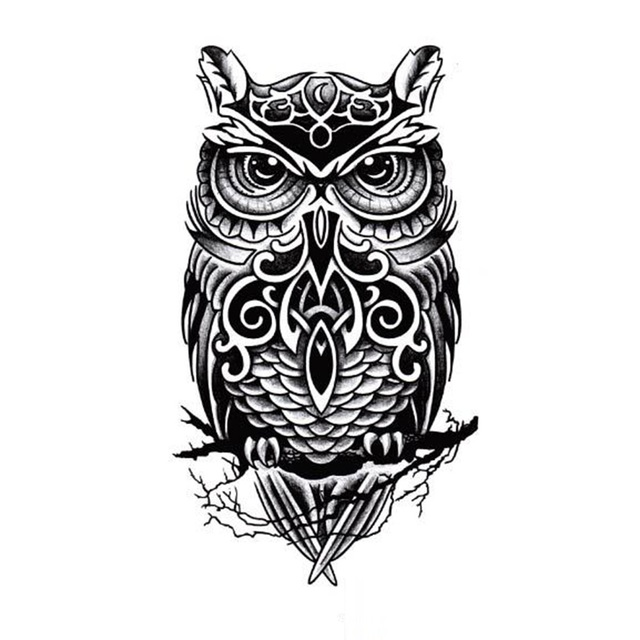 Large Black Owl Arm Fake Transfer Tattoo Stickers 1pcs Hot Sexy Men Women Spray Waterproof Designs Temporary Tattoos
