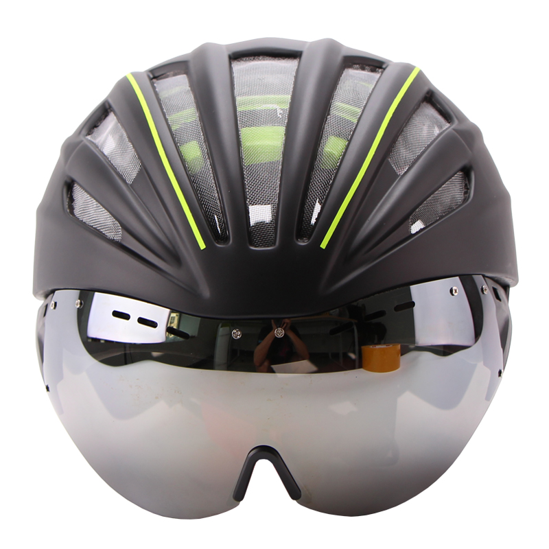 ФОТО Ultralight Goggles Bicycle Helmet Double Layers In-mold Cycling Helmet Casco Ciclismo Bike Helmet Goggles Glasses 55-61CM