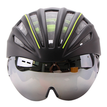 Ultralight Goggles Bicycle Helmet Double Layers In-mold Cycling Helmet Casco Ciclismo Bike Helmet Goggles Glasses 55-61CM