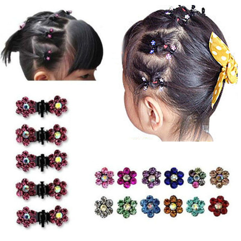 12Pc/Set Girl Lady Crystal Flower Mini Hair Claws Clamp Hair Clip Hair Pin Headwear Barrettes Hair Accessory fashion women girls 12pcs black plastic mini hairpin 10 claws hair clip clamp
