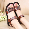 2017 Summer Flat with Girl Sandals Genuine Leather Women Shoes Solid Colors Fashion Comfortable Women's Sandals