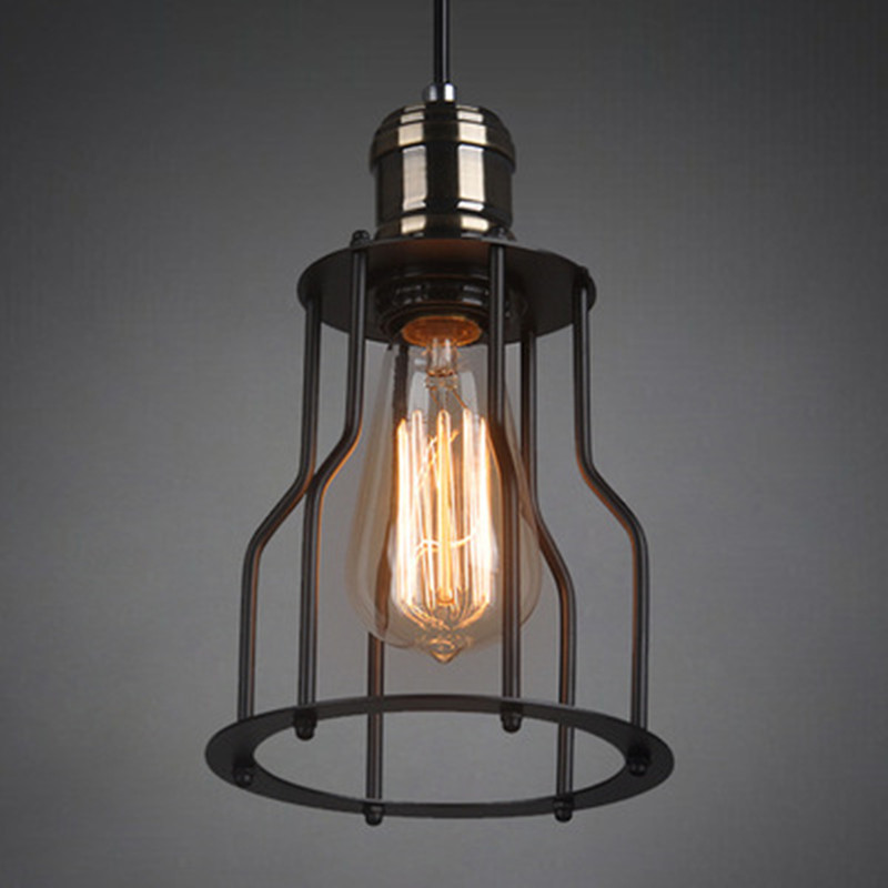 Vintage Pendant Lights Iron Pendant Lamps Kitchen Fixtures Cage Hanging Lamp luminuare Industrial Fixtures Home Lighting Light 10pcs wholesale price d80mmxh300mm black iron long cage industrial pendant lamp vintage brass socket lighting fixtures for home