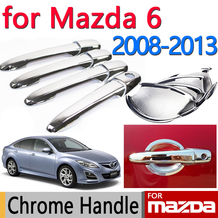 for Mazda 6 2008-2013 Accessories Chrome Door Handle Atenza 2009 2010 2011 2012 Sedan Wagon Cover Car Sticker Car Styling for suzuki swift 2004 2013 accessories chrome door handle covers 2005 2006 2007 2008 2009 2010 2011 2012 car styling stickers