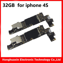 32GB for iphone 4s original motherboard unlocked mainboard with chips free iCloud IOS system board good working logic board