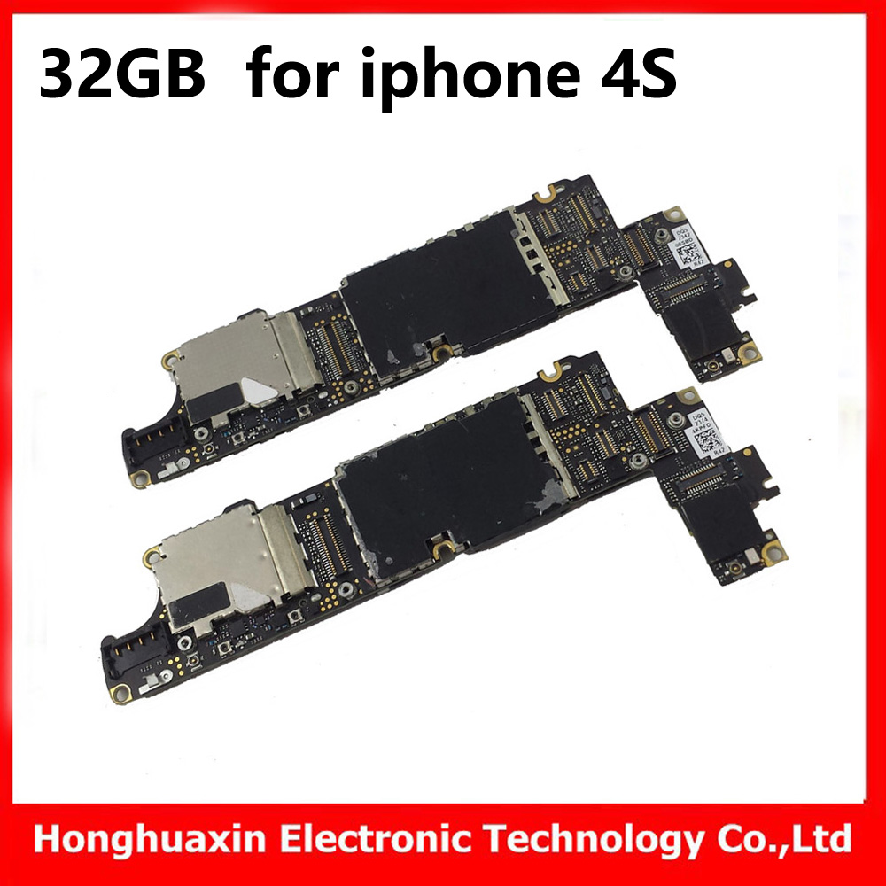 US $22 0 |32GB for iphone 4s original motherboard unlocked mainboard with  chips free iCloud IOS system board good working logic board-in Mobile Phone