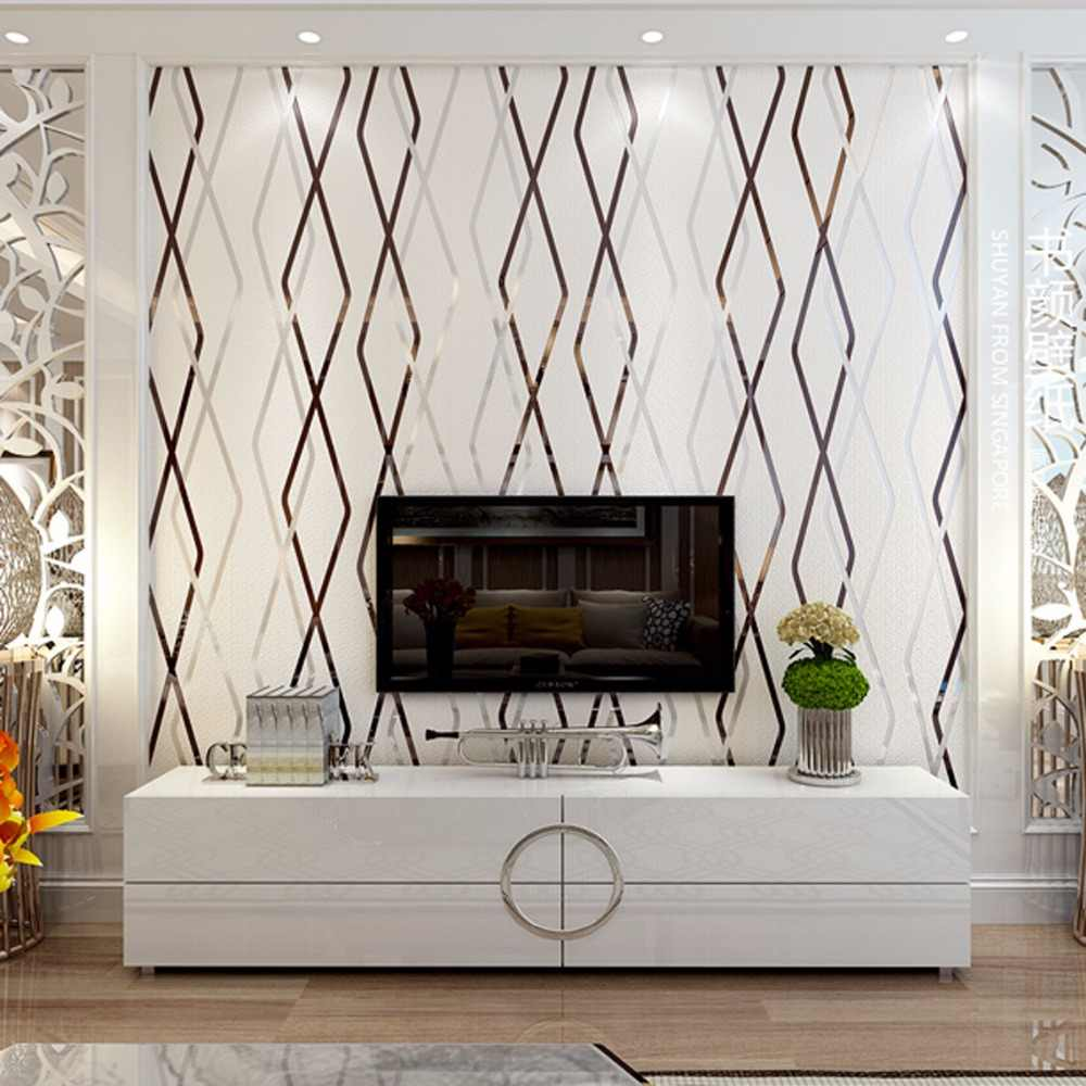 Современные Геометрические нетканые материалы 3D оленьей ромбовидной линии в Вертикальную Полоску обои papier peint