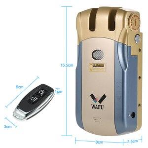 Image 3 - Wafu Wf 010 fechadura da porta eletrônica sem fio keyless invisível inteligente bloqueio com imprensa bloqueado & botão de desbloqueio 4 controle remoto