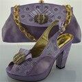 Italiano zapatos con bolso a juego altura del tacón 10 cm damas juego de zapatos y la bolsa de italia precio barato de la alta calidad del zapato y conjunto de bolsas