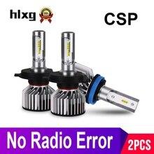 Hlxg Mini H4 LED H7 H11 H8 HB4 H1 HB4 HB3 CSP سيارة المصابيح الأمامية 8000LM 6000K 12 فولت لا راديو إنتيفينس مكافحة EMC FM وميض 36 واط