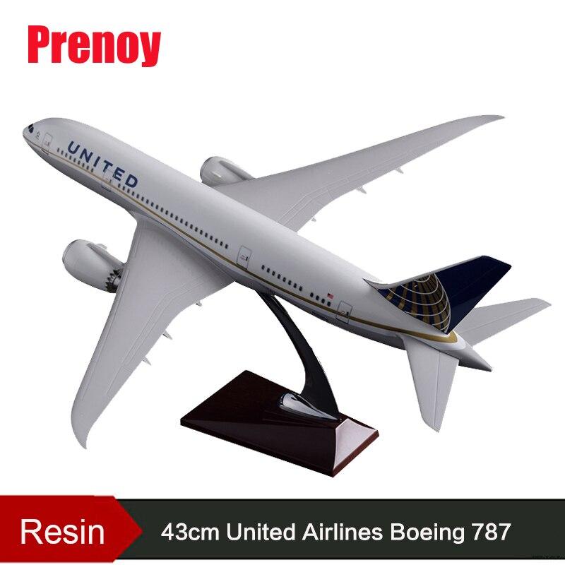 43 cm modèle d'avion en résine B787 United Airlines Airways modèle Boeing 787 états-unis avion Airbus artisanat modèle en gros