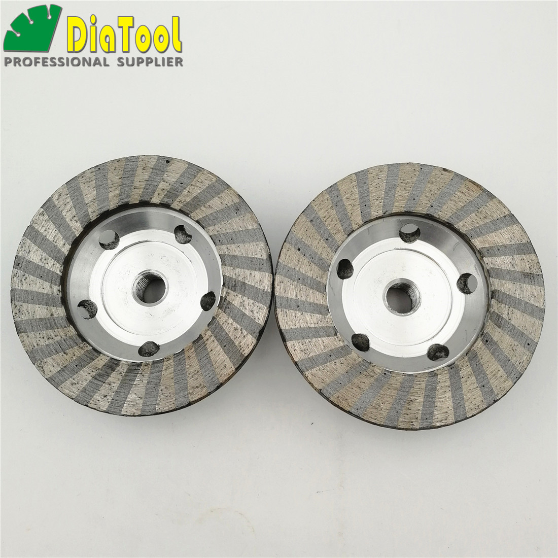 DIATOOL 2pcs 4in M14 Thread Aluminum Based Grinding Cup Wheel #50 #100 Diameter 100mm Diamond Fine Grinding With Great Finishing 2pk diamond double row grinding cup wheel for granite and hard material diameter 4 5 115mm bore 22 23mm with 16mm washer