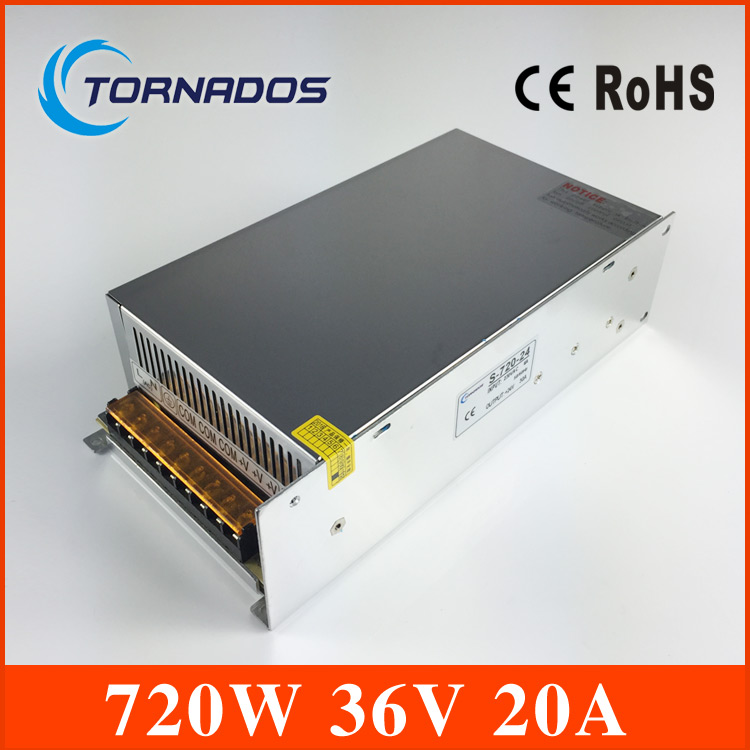 S-720-36 CE approved high quality SMPS Led switching power supply 36V 20A 720W 110/220V ac to dc 36v made in China