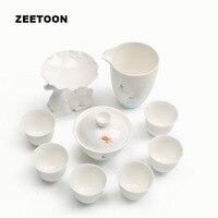 Japanese Style White Jade Porcelain Deer Kung Fu Tea Set Ceramics Teaware 1 Teapot + 6 Teacups + 1 Fair Cup + 1 Tea Filter Set