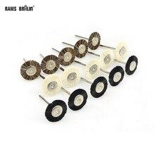 100 pièces en forme de T Mini brosse de polissage de fourrure OD25mm * 3mm tige pour Dremel meuleuse