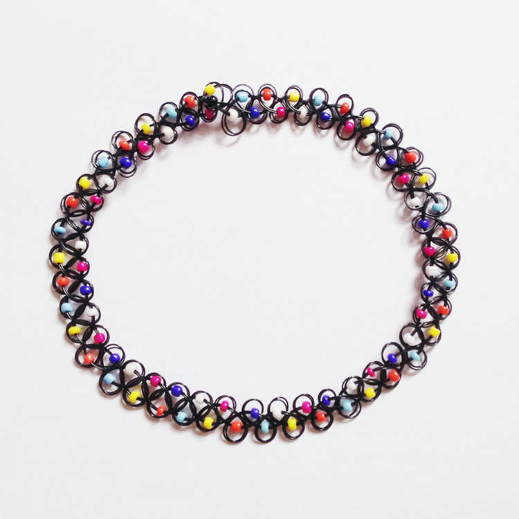 2016 New Fashion Accessories Multi-Colored Beads Tattoo Choker Elastic Necklace Pendant Grunge Resin Festival Gift