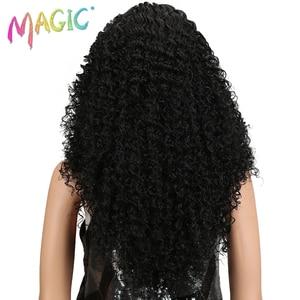 """Image 4 - マジックヘア 26 """"インチ合成レースフロント黒かつらアフリカ系アメリカ人の変態カーリー耐熱繊維かつらのための黒人女性"""