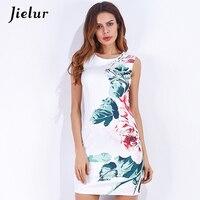 ファッション新しいoネックノースリーブ白いドレスの女性緑の葉花プリント夏のドレスセクシーなスプリットエレガントレディvestidos s-xl