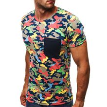 2019 men's slim casual round neck camouflage chest with pocket short-sleeved T-shirt, outdoor T-shirt цена 2017