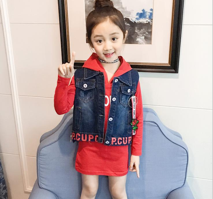 Childrens suit 2018 childrens wear, spring and autumn childrens suit, cowboy vest, long sleeve letter, two pieceChildrens suit 2018 childrens wear, spring and autumn childrens suit, cowboy vest, long sleeve letter, two piece