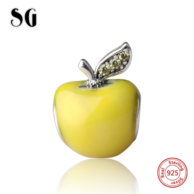 Fashion Jewelry Making For Women Gift Original Charms Yellow Enamel Apple Beads Fit Authentic pandora jewelry accessories gifts