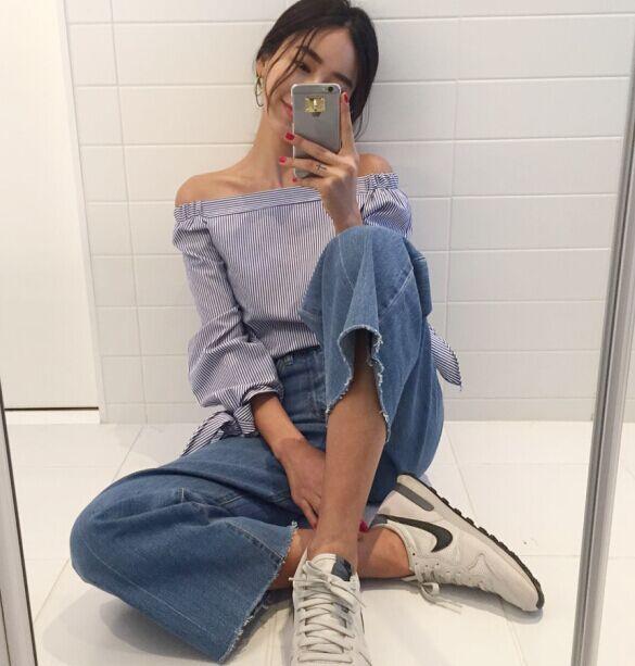 2017 nouveau printemps femmes chemises à manches longues rayé Evilsd hors de l'épaule Blouse chemise blanc bleu 1806