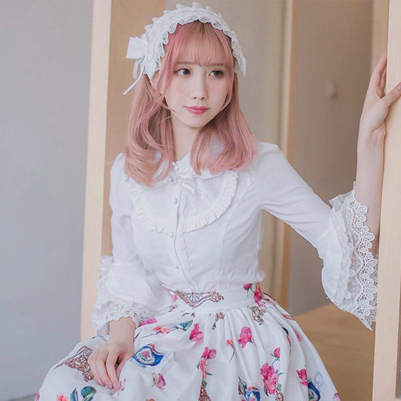 2019 Victorian Lolita Weiß / Schwarz Bluse Damen Lace Long Flare - Damenbekleidung - Foto 2