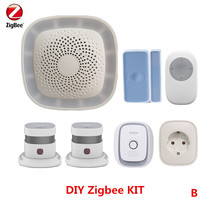 DIY Zigbee Wifi Alarm Security Burglar Alarm Automation Control Alarm System with smoke detector and Power socket