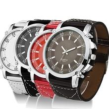 2015 New Successful Men's  Faux Leather Oversized Quartz Luminous Men Watches Hands Wrist Watch 8HKD