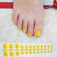 Candy Yellow Press On Nails Feet Square Glossy Short Fake Toe Nails For Girls Acrylic Nail False Artificial Without Glue(China)
