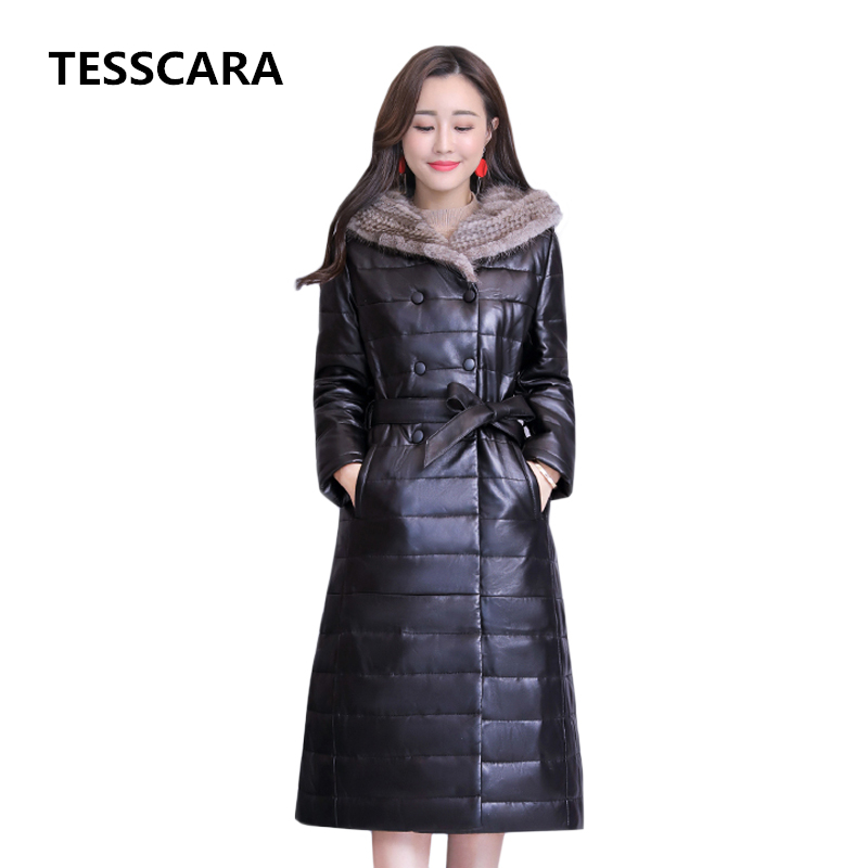 Women Winter Long Hooded Parka Jacket Coat Big Fur Warm Cotton PU Outwear Coats Office Lady