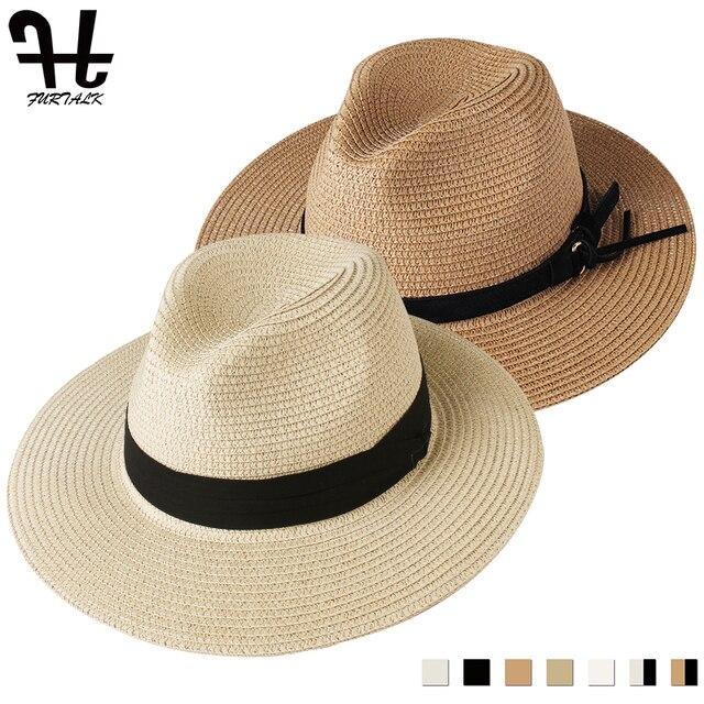 FURTALK Panama Hat Summer Sun Hats for Women Man Beach Straw Hat for Men UV Protection Cap chapeau femme 2019