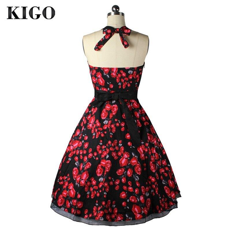 Киго Лето Винтажные наряды Одри Хепберн 1950 s рокабилли платье Свинг 50 s ретро Холтер Цветочный принт платье vestidos k4005