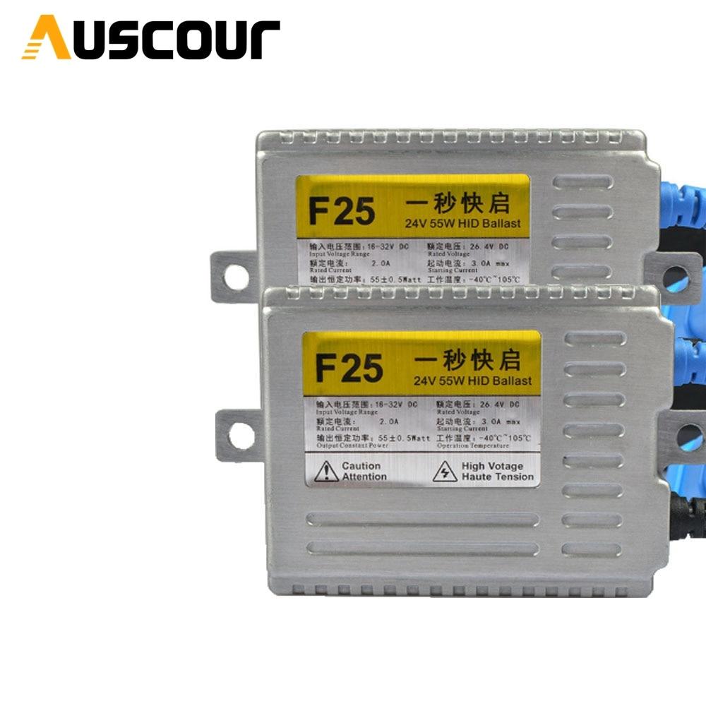 2 pièces rapide lumineux 55 W 24 V rapide strat hid xénon Kit ballast DLT f25 pour H4 H7 H1 9005 9006 ampoule phare voiture accessoires modifier