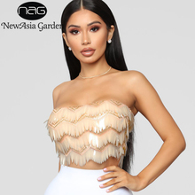 847d5cfa6f8d9 NewAsia Garden Gold Sequin Crop Top Women Sexy Tube Top Mesh Fringe Ladies  Cropped Tops 2018