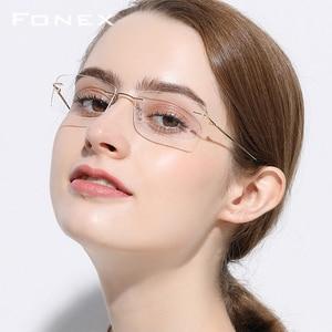Image 2 - Randloze Titanium Legering Glazen Frame Mannen Ultralight Vierkante Recept Brillen Vrouwen Frameloze Bijziendheid Monturen Brillen